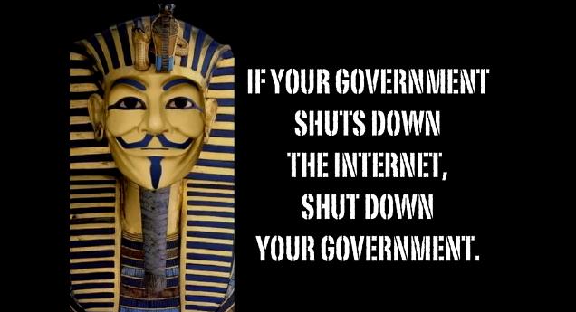 Screenshot von Anonymous-Nachricht gegen Mubarak, Bild: Fabian Schmidmeier
