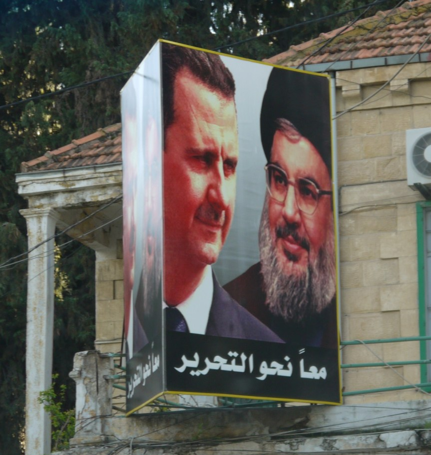 Dieses Plakat im libanesischen Baalbek zeigt Baschar al-Assad und den Hisbollah-Chef Hassan Nasrallah. Foto: Fabian Schmidmeier