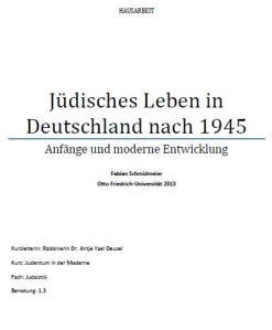 Cover Hausarbeit Jüdische Moderne